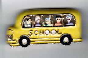 School Bus brooch, 5 Kids in window