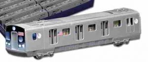 New York MTA R160 subway car, flashing lights, pullback action